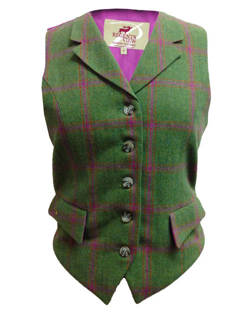 Regents View Women Premium Single Breasted Tweed Waistcoat - Green