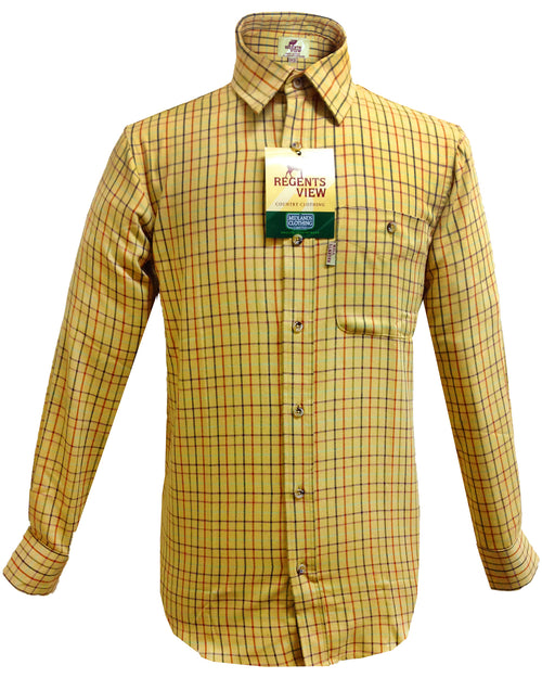 Regents View Men Tattersall Long Sleeve Shirt - Yellow SH39