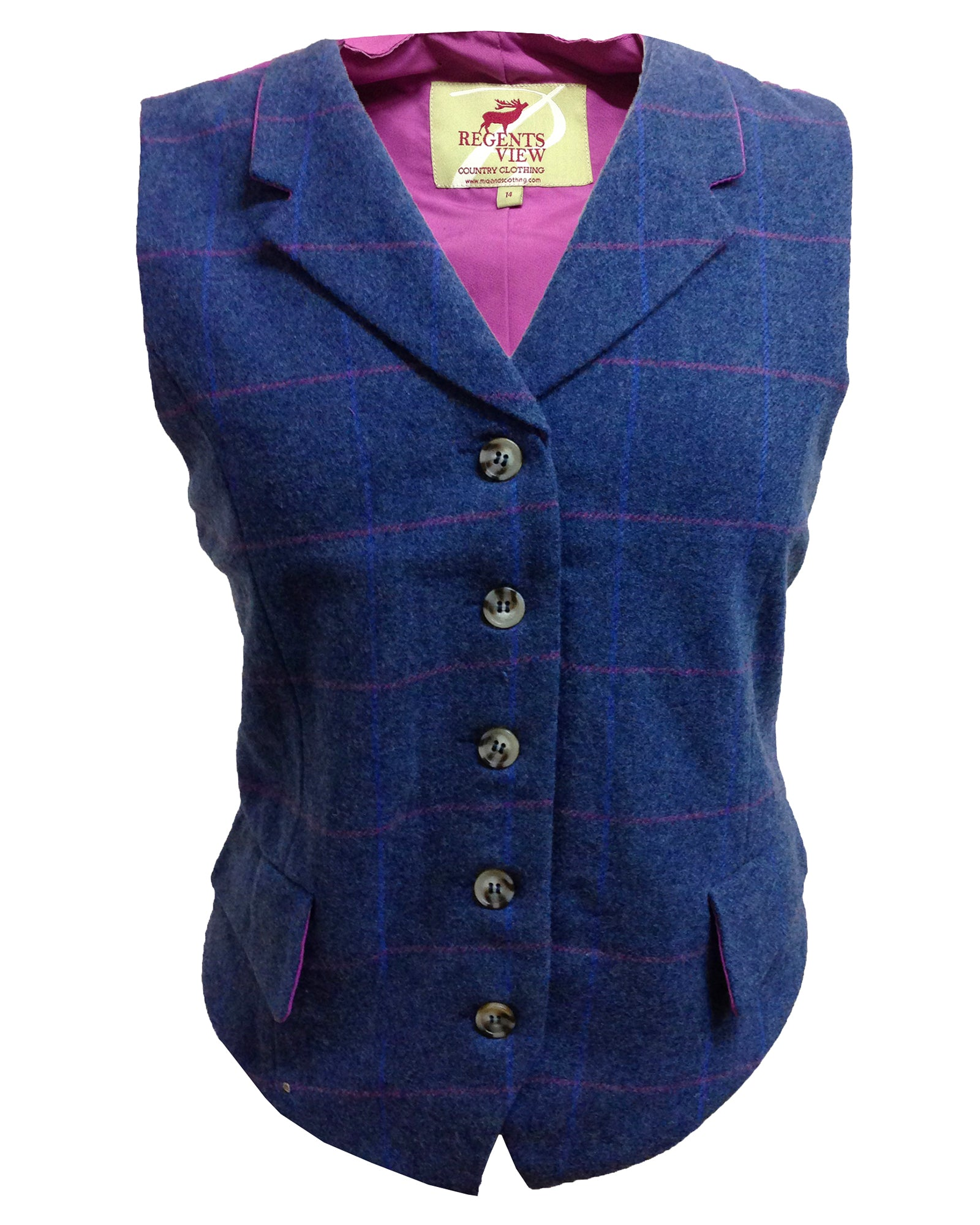 Regents View Women Premium Single Breasted Tweed Waistcoat - Blue
