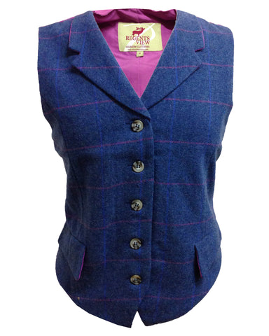 Regents View Women Stylish Tweed Hacking Style Jacket - Purple Trim