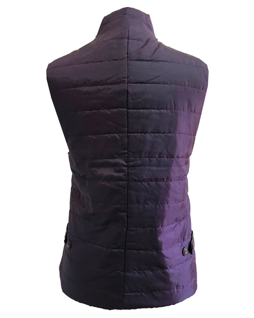 Quilted Multi-Pocket Water Resistant Zipped Bodywarmer Gilet - Purple