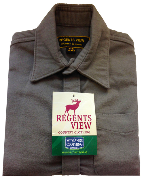 Regents View Childrens 100% Cotton Moleskin Shirt - Lovat