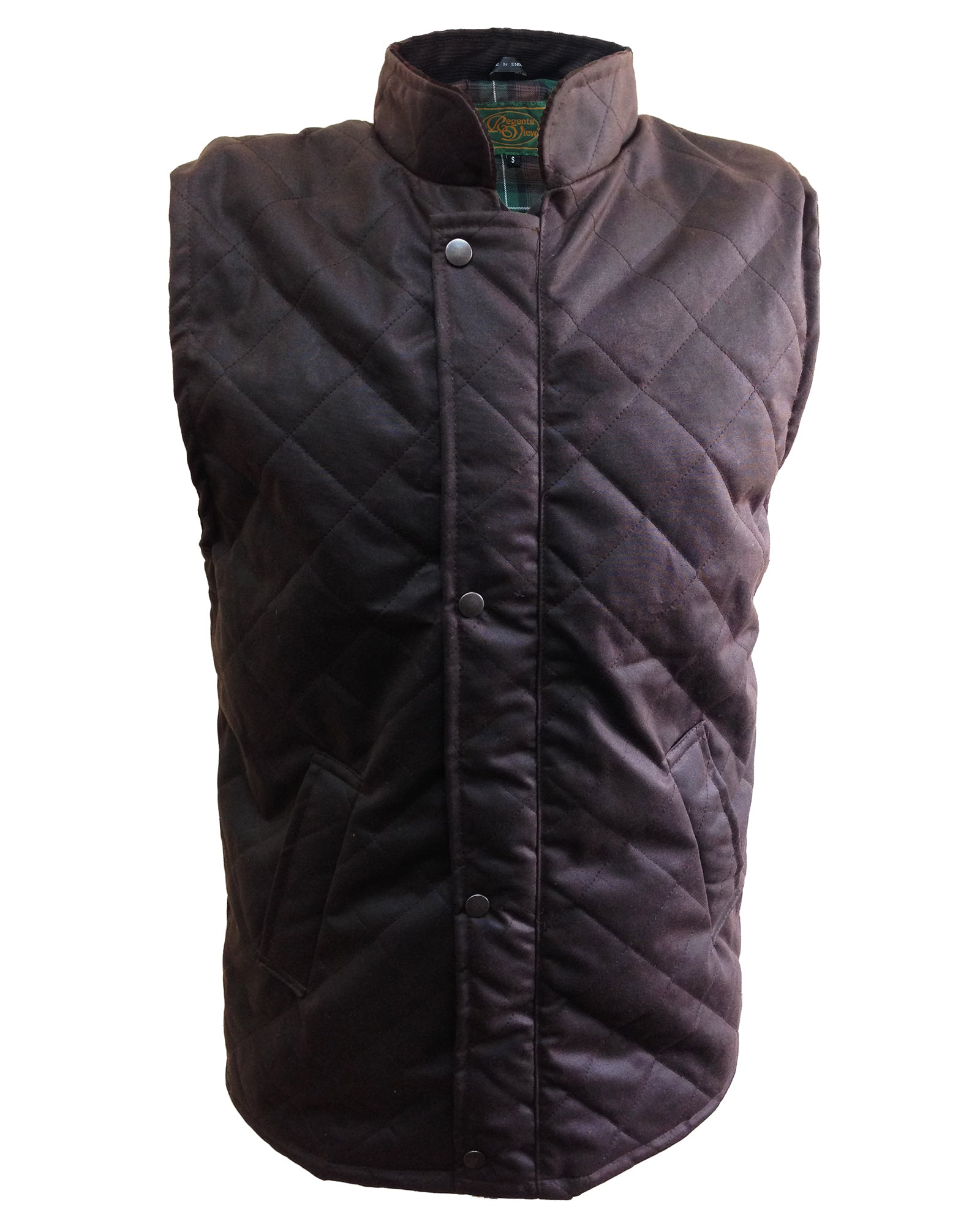 Regents View Diamond Quilted 100% Waxed Cotton Bodywarmer - Brown