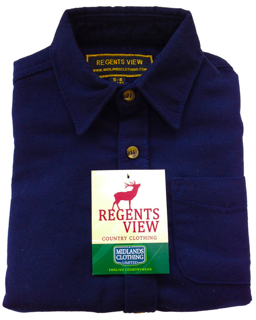 Regents View Childrens 100% Cotton Moleskin Shirt - Navy