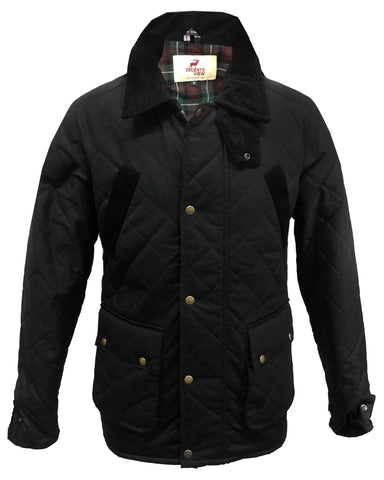 Cedar Mens Waxed Cotton Biker Jacket - Black