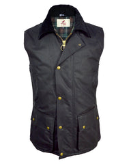 Regents View Men Premium Waxed Cotton Waistcoat - Black