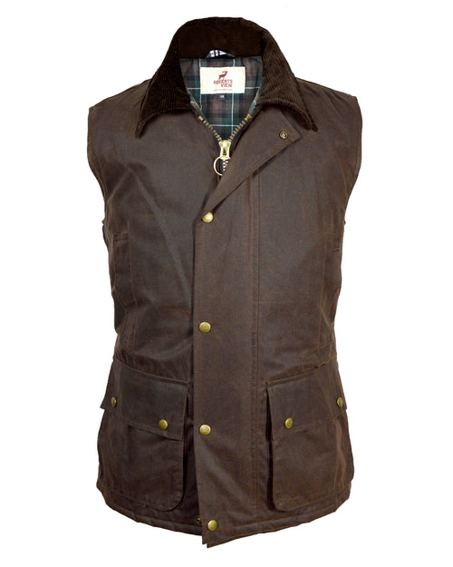 Regents View Men Premium Waxed Cotton Waistcoat - Brown