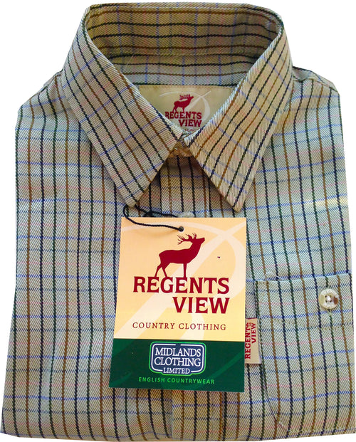 Regents View Childrens Tattersall Check Shirt - Green SH27-2