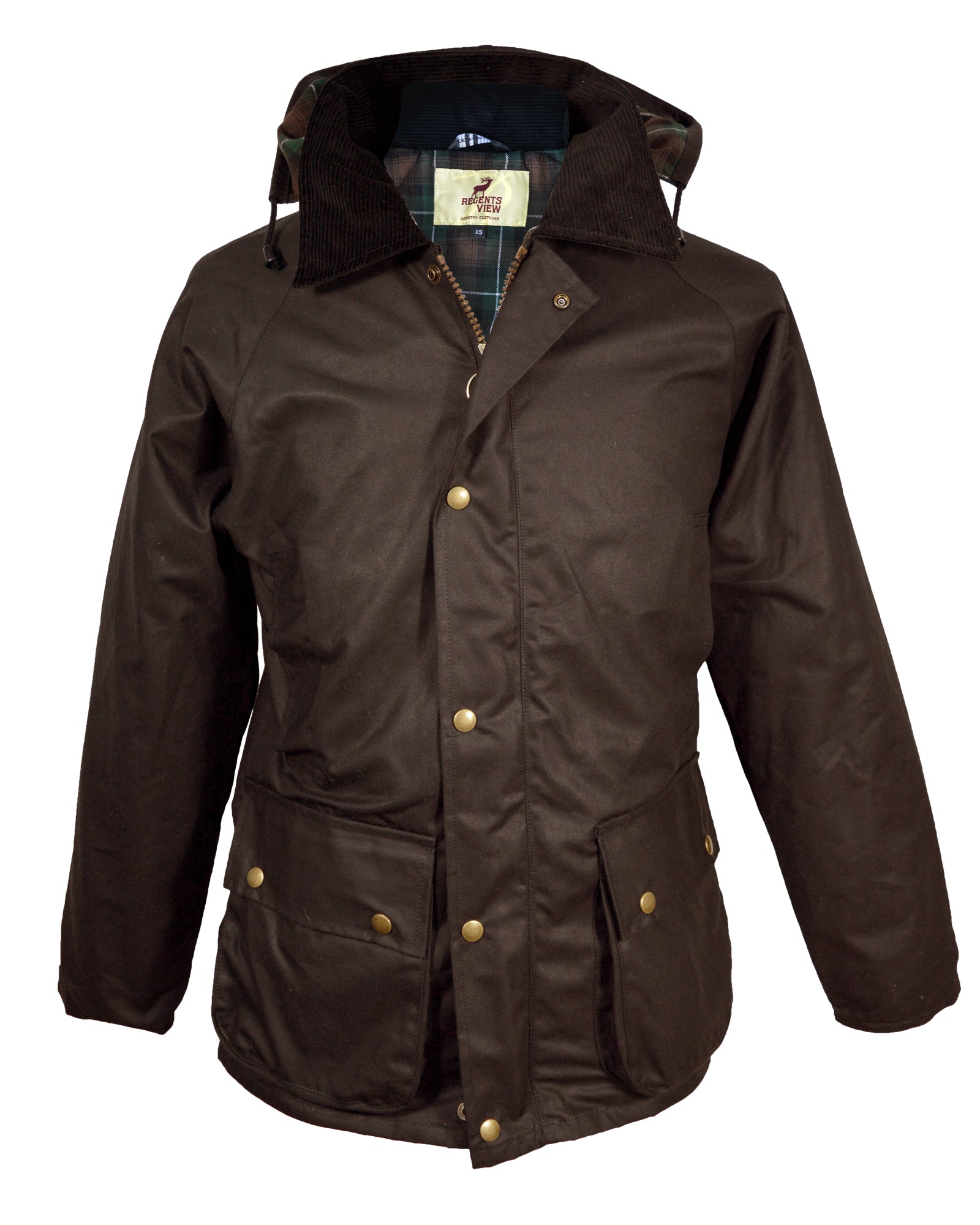 Regents View Mens Premium Hooded Wax Cotton Jacket - Brown