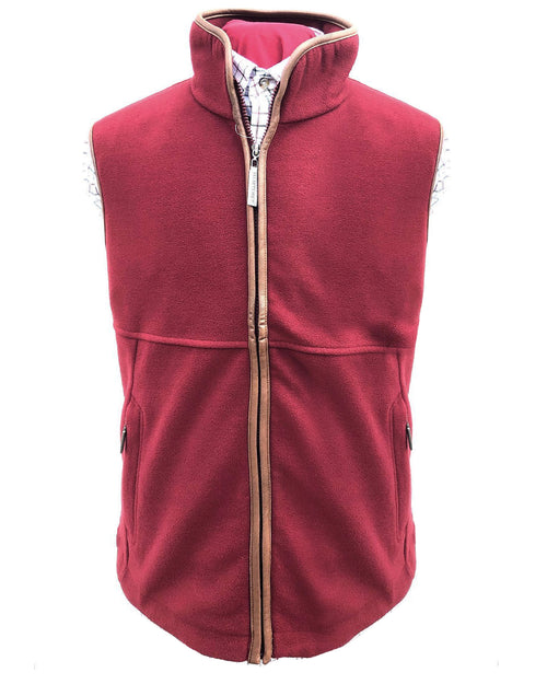 Regents View Mens Fleece Bodywarmer - Burgundy