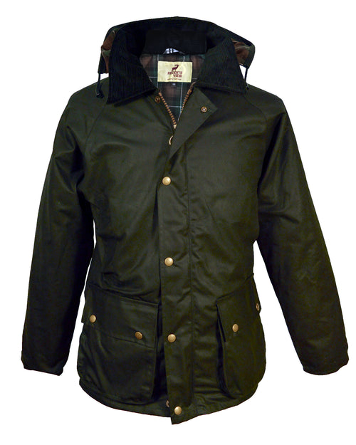 Regents View Mens Premium Hooded Wax Cotton Jacket - Olive