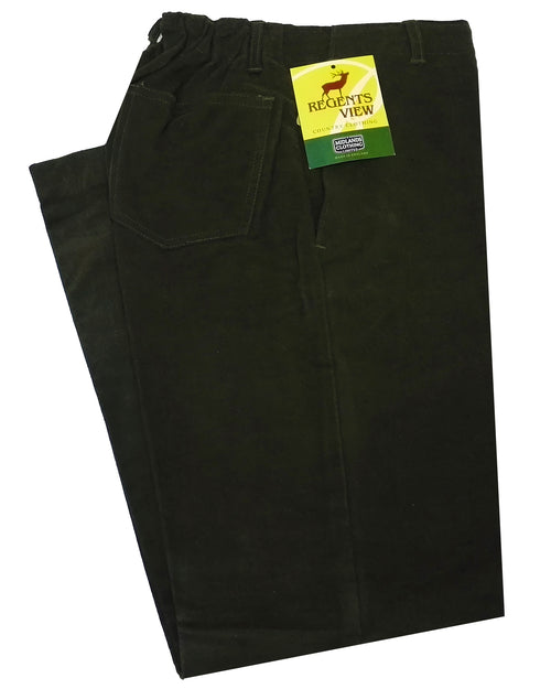 Regents View Women Classic 100% Cotton Moleskin Trousers - Olive