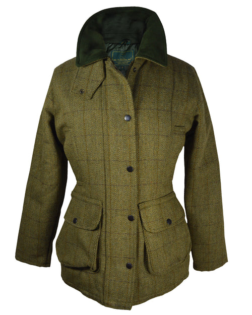 Saddle Women Tweed Jacket - Mid Green Tweed