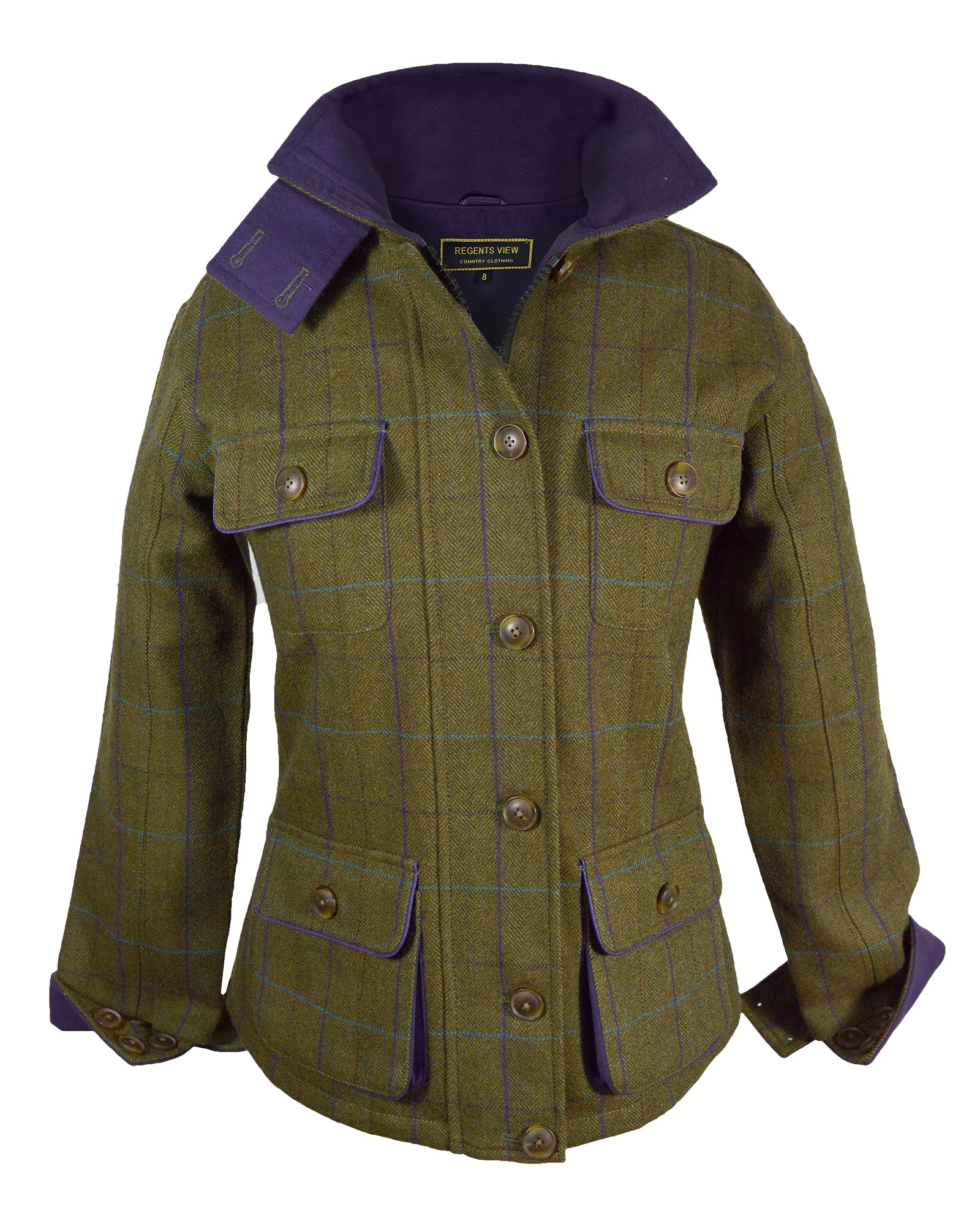 Regents View Stylish Women Tweed Jacket - Purple