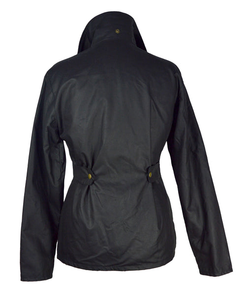 Regents View Womens Premium Fitted 100% Waxed Cotton Jacket - Black