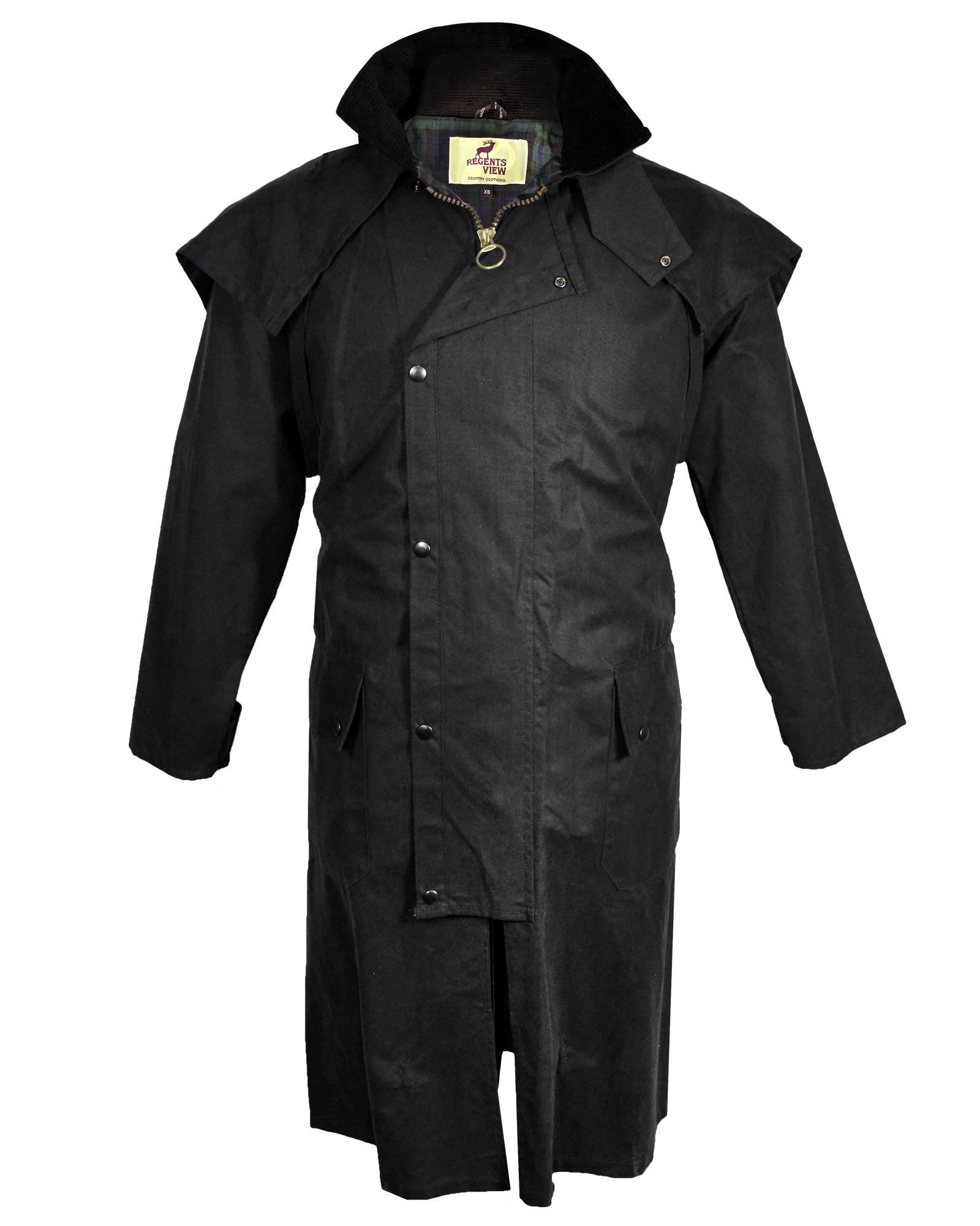 Regents View Waxed Cotton Stockman / Drover Long Coat - Black
