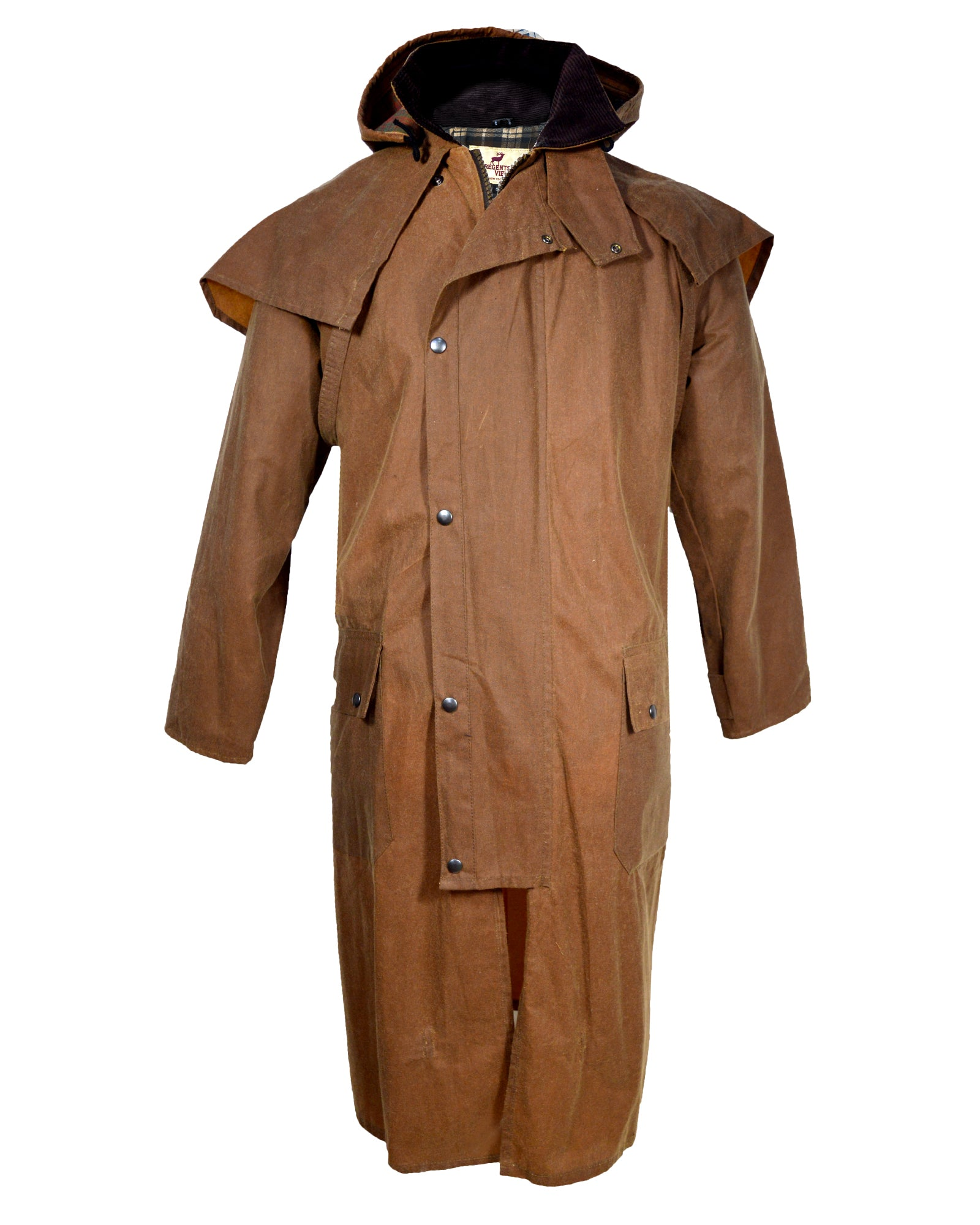 Regents View Waxed Cotton Stockman / Drover Long Coat - Tan
