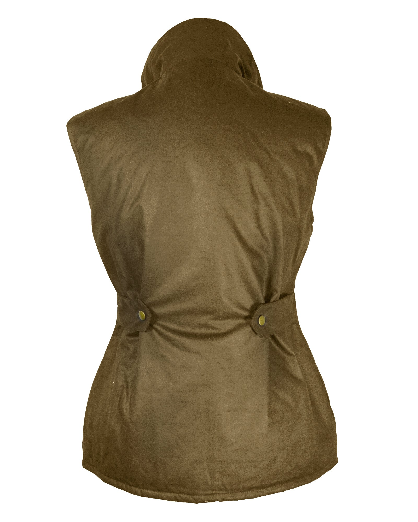 Regents View Womens Fitted Wax Waistcoat Body Warmer - Dark Tan