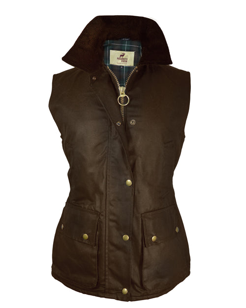 Regents View Womens Fitted Wax Waistcoat Body Warmer - Brown