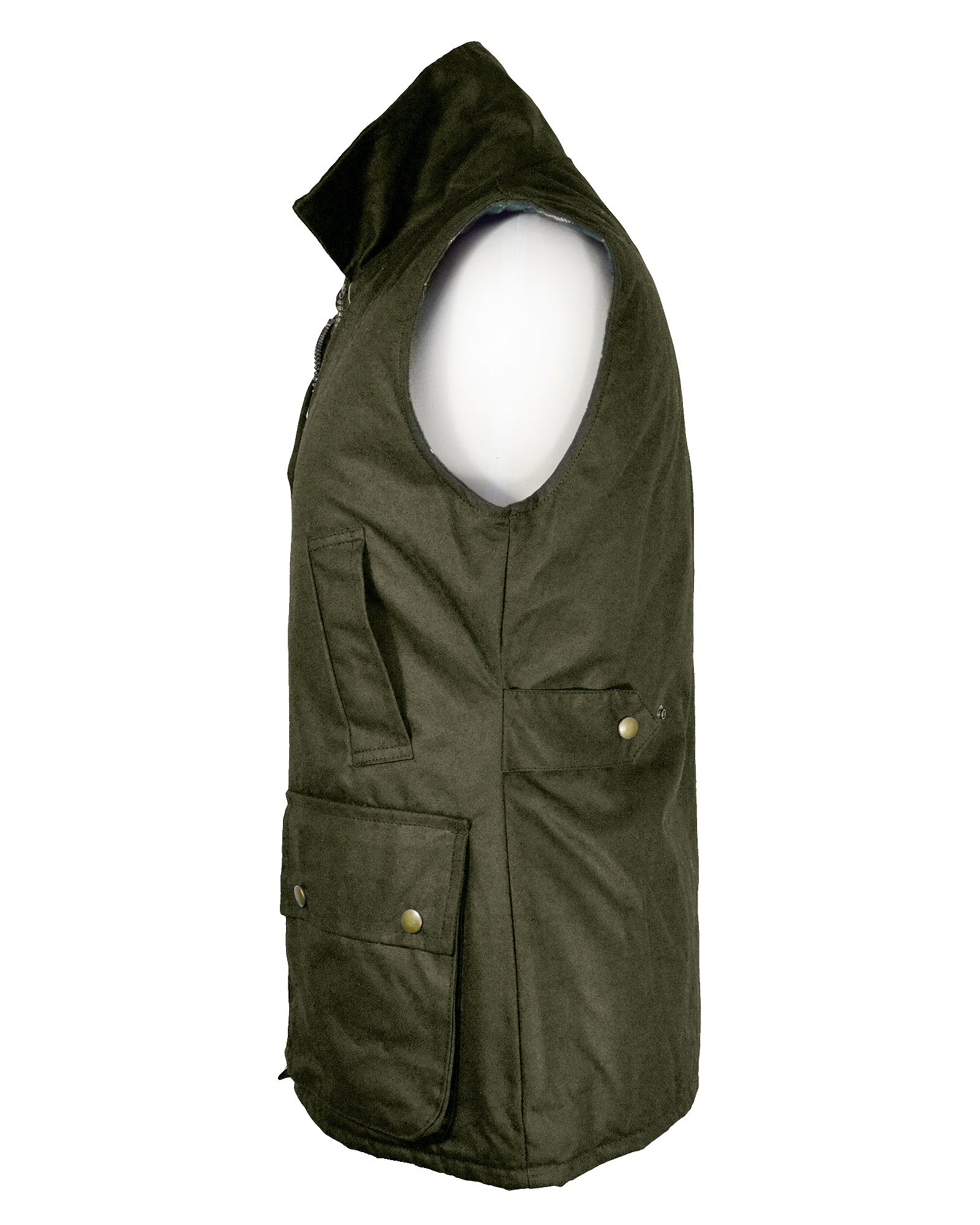 Regents View Womens Fitted Wax Waistcoat Body Warmer - Olive Green