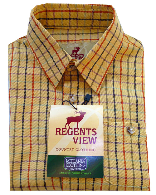 Regents View Childrens Tattersall Check Shirt - Yellow SH39