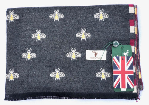 House Of Tweed  Large Scarves-Bees Charcoal