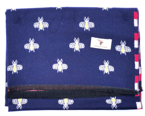 House Of Tweed  Large Scarves-Bees Navy