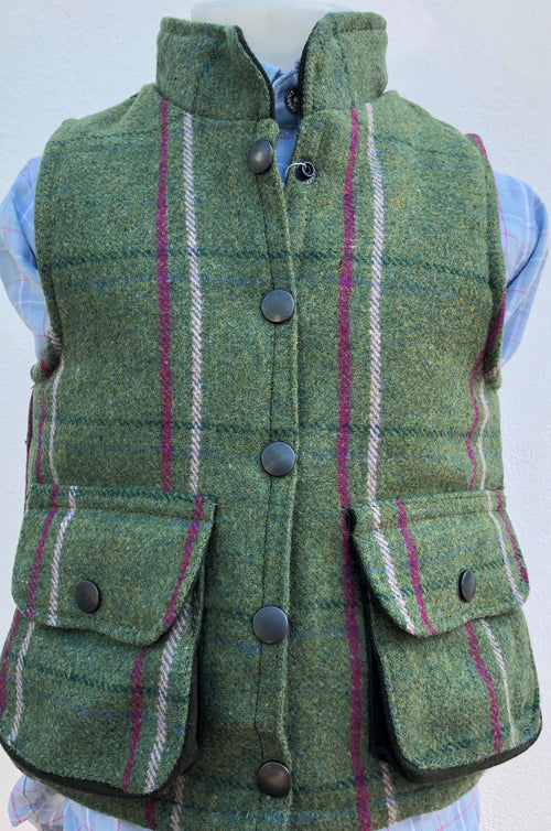 Regents View Childrens Tweed Bodywarmer - Olive/Pink