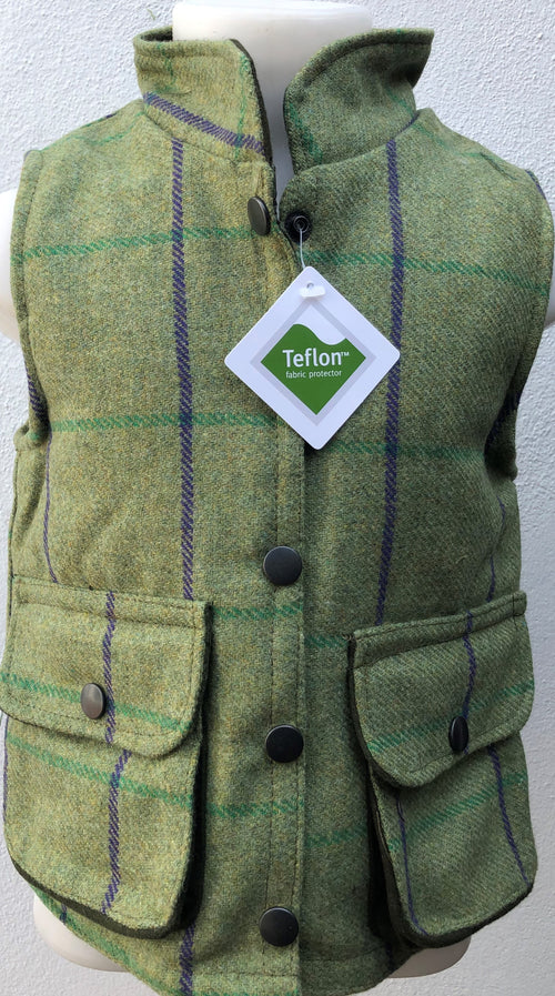 Regents View Childrens Tweed Bodywarmer - Green/Purple