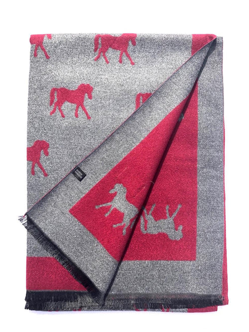 House Of Tweed  Large Scarves-Horses Dark Red/Grey