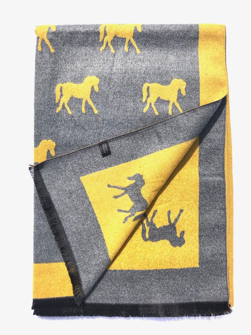 House Of Tweed  Large Scarves-Horses Mustard/Grey