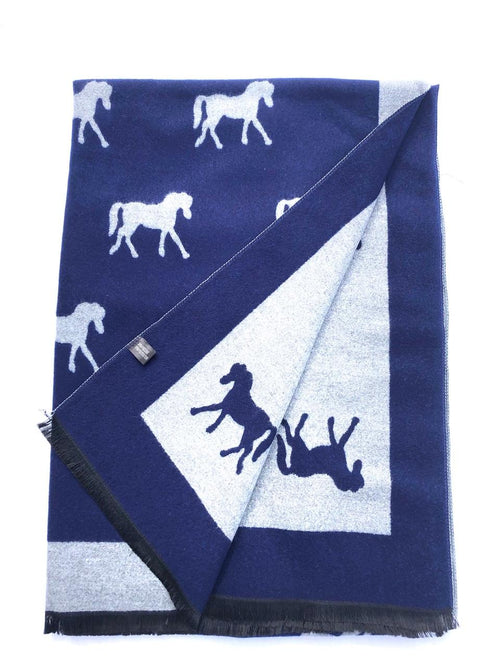 House Of Tweed  Large Scarves-Horses Navy/Grey
