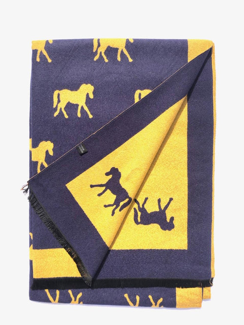 House Of Tweed  Large Scarves-Horses Navy/Mustard