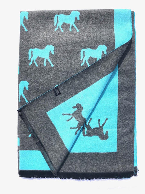 House Of Tweed  Large Scarves-Horses Turquoise/Grey