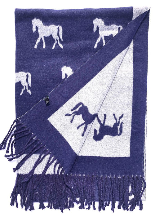 House Of Tweed  Large Scarves With Tassel Horses -Navy/Grey