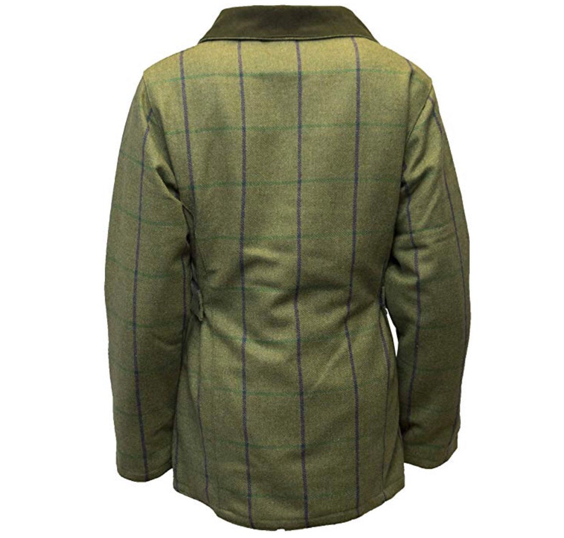 Regents View ladies tweed jacket- light olive with purple