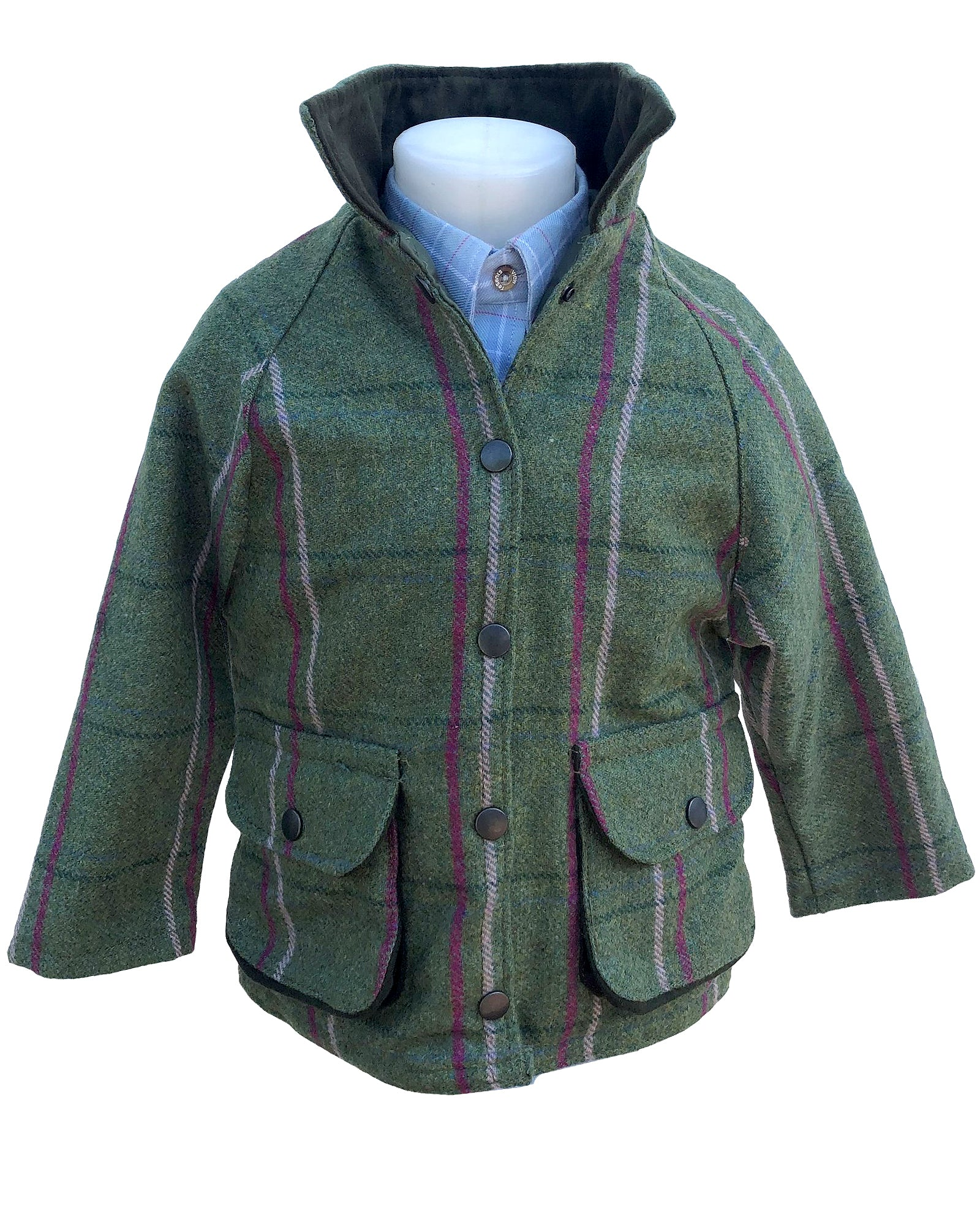 Regents View Childrens Tweed Jacket - Olive/Pink