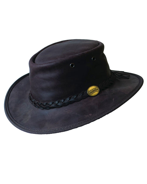 Barmah Crushable Bronco Leather Hat - Navy
