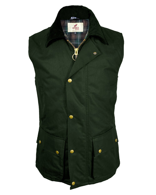 Regents View Men Premium Waxed Cotton Waistcoat - Olive