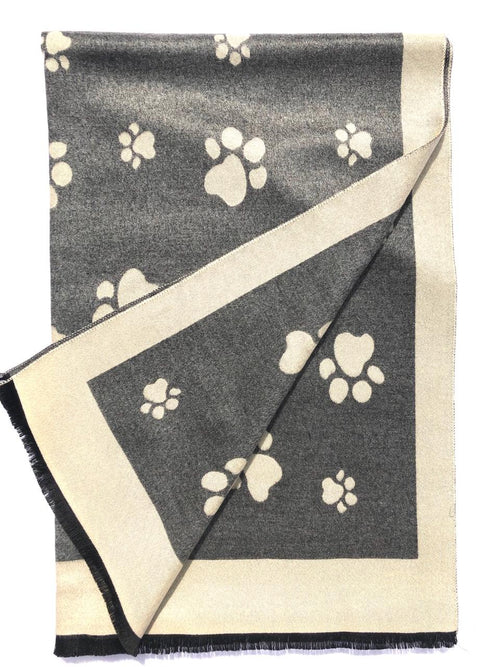House Of Tweed  Large Scarves-Paws Beige/Grey