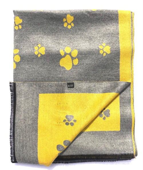 House Of Tweed  Large Scarves-Paws Mustard/Grey