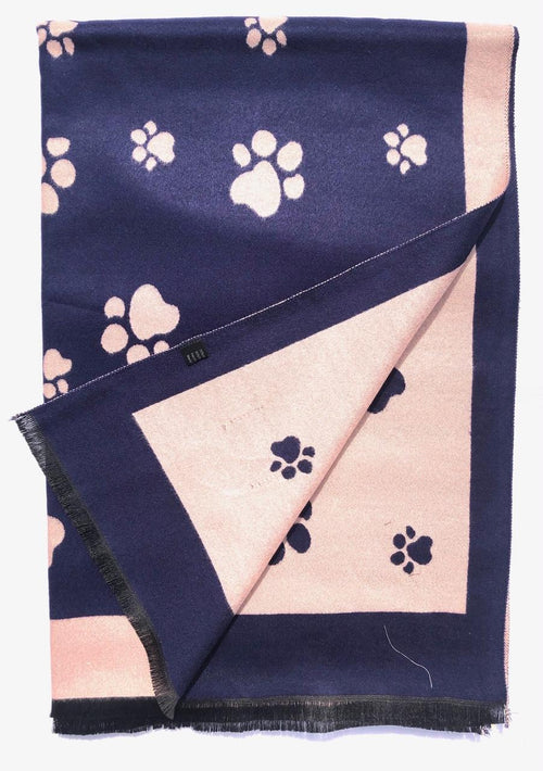 House Of Tweed  Large Scarves-Paws Navy/Pink