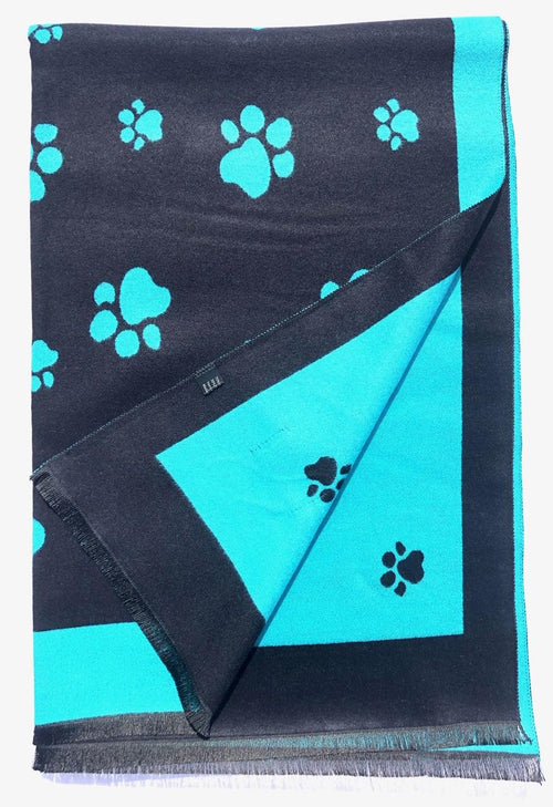 House Of Tweed  Large Scarves-Paws Navy/Turquoise