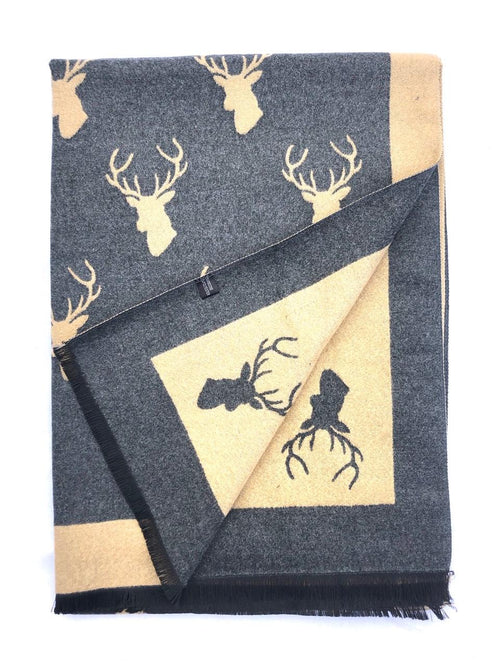 House Of Tweed  Large Scarves-Stags Light Brown/Grey