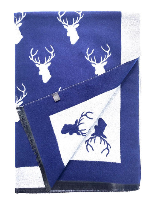 House Of Tweed  Large Scarves-Stags Navy/Grey