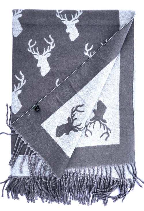 House Of Tweed  Large Scarves With Tassel Stag -Dark Grey/Grey