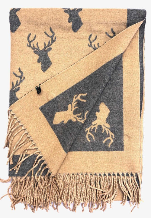House Of Tweed  Large Scarves With Tassel Stag-Light Brown/Grey