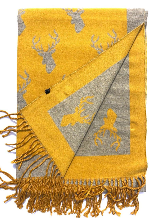 House Of Tweed  Large Scarves With Tassel -Stags Mustard/Grey