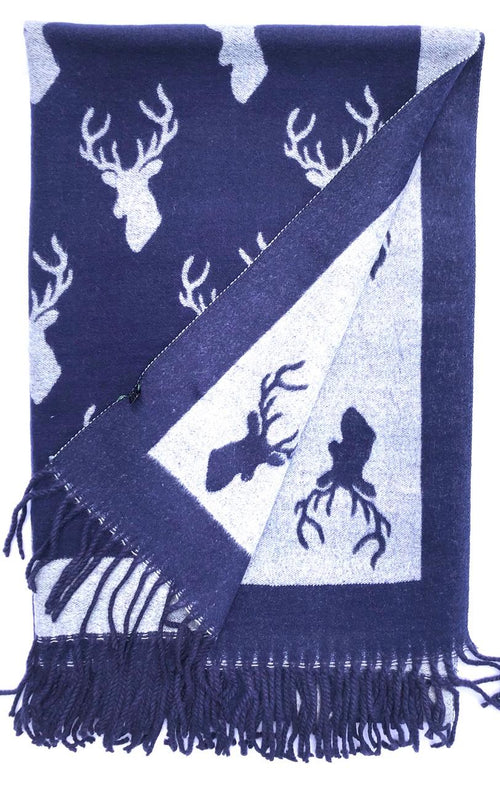 House Of Tweed  Large Scarves With Tassel -Stags Navy/Grey