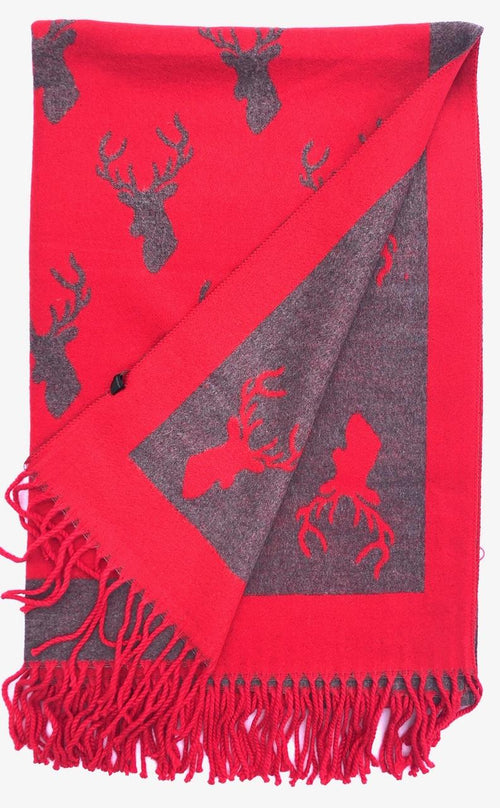 House Of Tweed  Large Scarves With Tassel -Stags Red/Grey